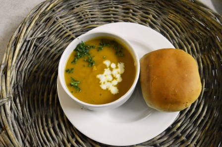 Butternut Soup served with Fresh Bread